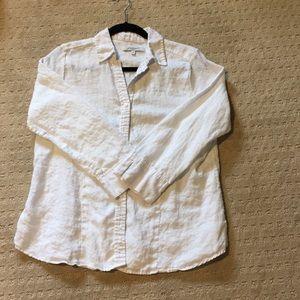 EUC sz med linen foxcroft button down 3/4 sleeve